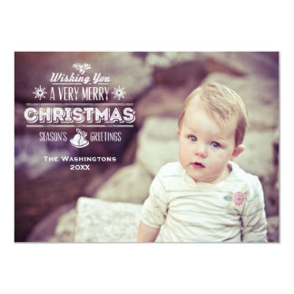 Vintage Chalk Typography Holiday Photo Card