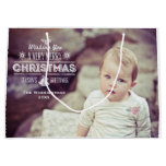 Vintage Chalk Typography Holiday Photos Large Gift Bag