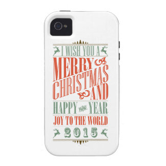 Vintage Chalkboad Christmas & New Year 2015 Case-Mate iPhone 4 Cover