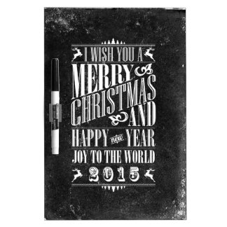 Vintage Chalkboad Christmas New Year 2015 Dry Erase Whiteboards