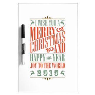 Vintage Chalkboad Christmas New Year 2015 Dry-Erase Boards