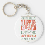 Vintage Chalkboad Christmas & New Year 2015 Keychain