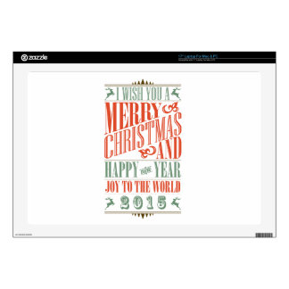 """Vintage Chalkboad Christmas New Year 2015 Decal For 17"""" Laptop"""