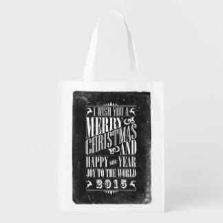 Vintage Chalkboad Christmas & NewYear Reusable Bag Market Tote