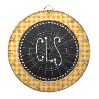 Vintage Chalkboard Amber Orange Gingham; Checkered Dartboard