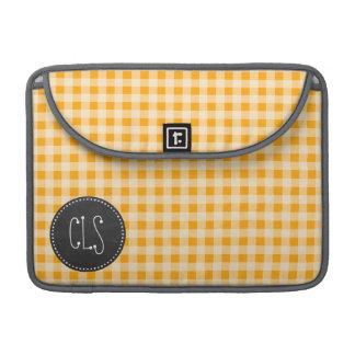Vintage Chalkboard Amber Orange Gingham; Checkered Sleeve For MacBook Pro