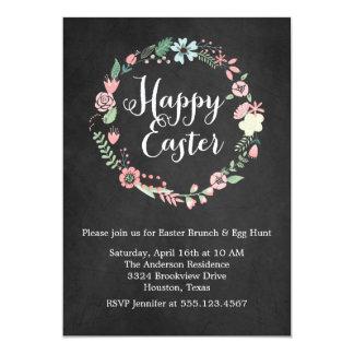 Vintage Chalkboard and Floral Wreath Easter Brunch Card