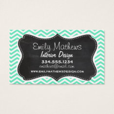 Vintage Chalkboard; Aquamarine Chevron; Zig Zag Business Card at Zazzle