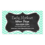 Vintage Chalkboard; Aquamarine Chevron; zig zag Double-Sided Standard Business Cards (Pack Of 100)