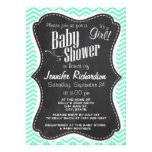 Vintage Chalkboard; Aquamarine Chevron; zig zag Personalized Invitation
