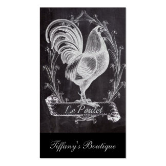 vintage chalkboard art french country rooster business card