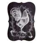 vintage chalkboard art french country rooster 5x7 paper invitation card