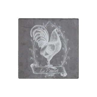 vintage chalkboard art french country rooster stone magnet