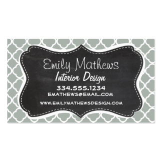 Vintage Chalkboard Ash Gray; Grey Quatrefoil Business Card Templates