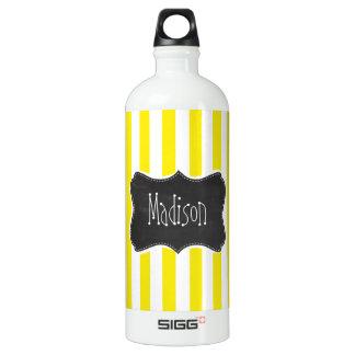 Vintage Chalkboard Aureolin Yellow Stripes Aluminum Water Bottle