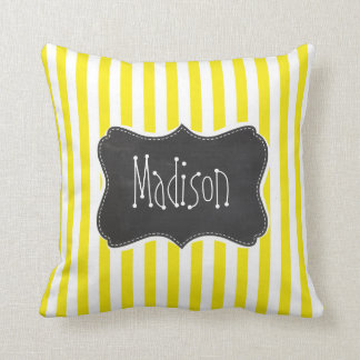 Vintage Chalkboard Aureolin Yellow Stripes Throw Pillow