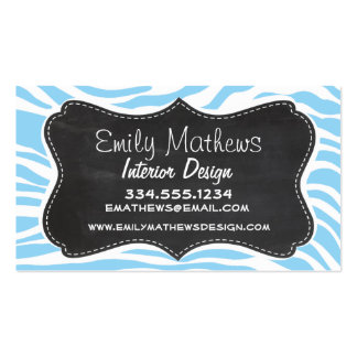Vintage Chalkboard; Baby Blue Zebra Animal Print Double-Sided Standard Business Cards (Pack Of 100)