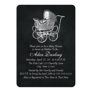 Vintage Chalkboard Baby Carriage Baby Shower 5x7 Paper Invitation Card