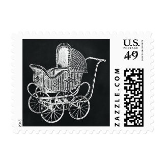 Vintage Chalkboard Baby Carriage Baby Shower Stamps