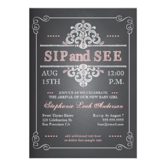 Vintage Chalkboard Baby Girl Sip See Invitation