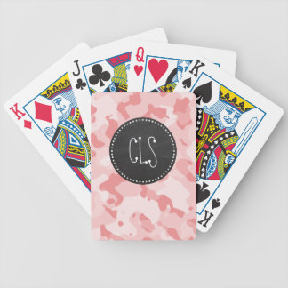Vintage Chalkboard Baby Pink Camo; Camouflage Bicycle Card Deck