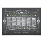 "Vintage Chalkboard Baby Shower BBQ Invitation 5"" X 7"" Invitation Card"