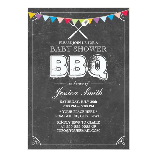 chalkboard baby shower bbq party personalized invitations zazzle