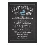 Vintage Chalkboard Baby Shower Blue 5x7 Paper Invitation Card