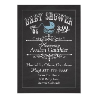 Vintage Chalkboard Baby Shower Blue 5x7 Paper Invitation Card