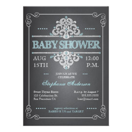 Vintage Chalkboard Baby Shower Boy Blue Invitation