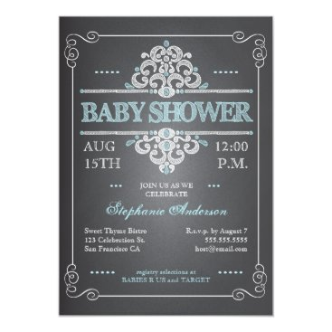 Toddler & Baby themed Vintage Chalkboard Baby Shower Boy Blue Invitation