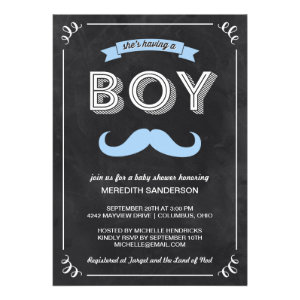 Vintage Chalkboard Baby Shower Custom Invites