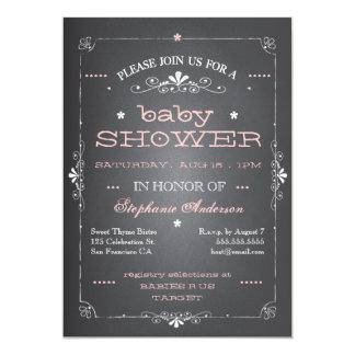 Vintage Chalkboard Baby Shower Girl Invitation