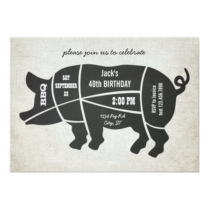 Vintage Chalkboard Birthday BBQ Invitation