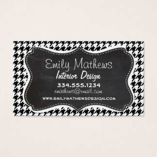 Vintage Chalkboard Black Houndstooth Business Card