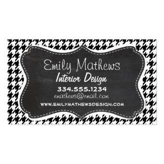 Vintage Chalkboard Black Houndstooth Business Card Templates