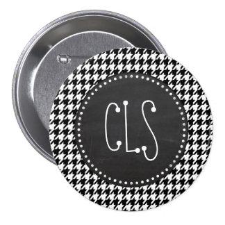 Vintage Chalkboard Black Houndstooth 3 Inch Round Button