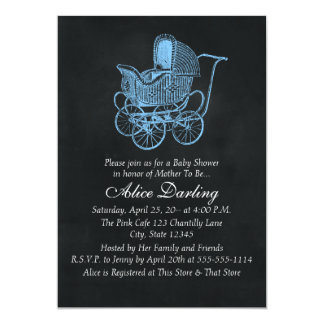 Vintage Chalkboard Blue Baby Carriage Baby Shower 5x7 Paper Invitation Card