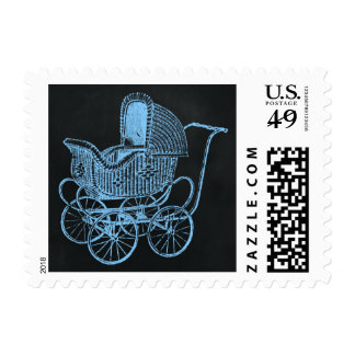 Vintage Chalkboard Blue Baby Carriage Baby Shower Stamps