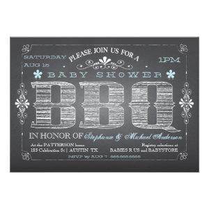 Vintage Chalkboard Boy Baby Shower BBQ Invitation