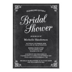 Vintage Chalkboard Bridal Shower Card at Zazzle