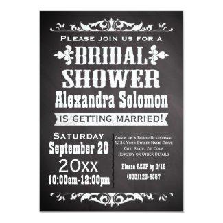 "Vintage Chalkboard Bridal Shower Invitation 5"" X 7"" Invitation Card"