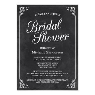 "Vintage Chalkboard Bridal Shower 5"" X 7"" Invitation Card"
