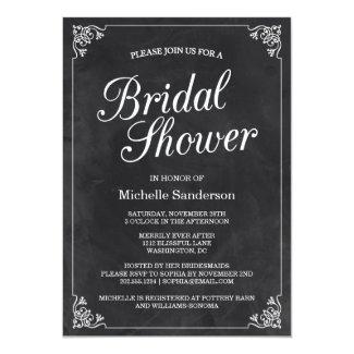 Vintage Chalkboard Bridal Shower 5x7 Paper Invitation Card