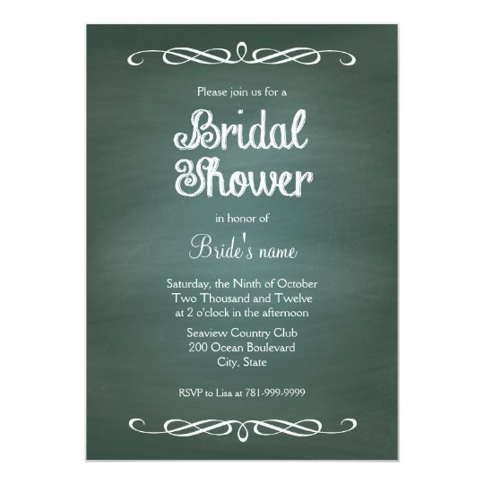 Vintage Chalkboard Bridal Shower Invitations