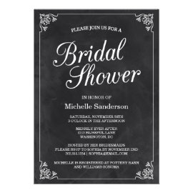 Vintage Chalkboard Bridal Shower Invites