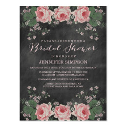 VINTAGE CHALKBOARD BRIDAL SHOWER POST CARD