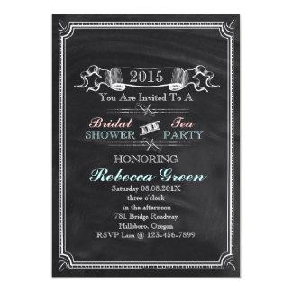 vintage Chalkboard bridal shower tea party 5x7 Paper Invitation Card