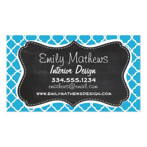 Vintage Chalkboard; Bright Cerulean Quatrefoil Business Card Template
