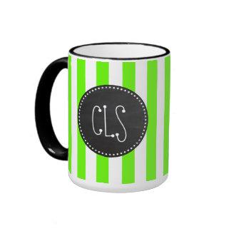 Vintage Chalkboard; Bright Green Stripes; Striped Ringer Mug